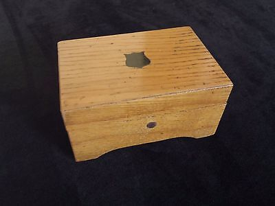 Antique Trinket Desk Victorian Wood Box Shield Design Period Paper Lining Clean