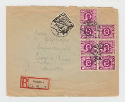 Austria: AMG:  1946 R-cover, mixed posthorn/views 54gr franking, censor tape
