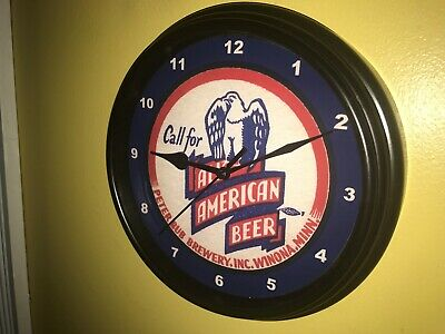 All American Minnesota Beer Bar Man Cave Advertising Black Wall Clock Sign