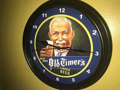 Old Timers West Bend Beer Bar Man Cave Advertising Black Wall Clock Sign
