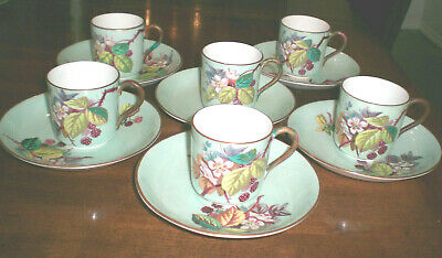 James Green & Nephew Set of 6 Demitasse Cups & Saucers Blackberry / Antique