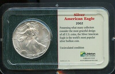 2002 $1 U.S. American Silver Eagle 1 oz .999 Fine Silver Dollar Coin BE268