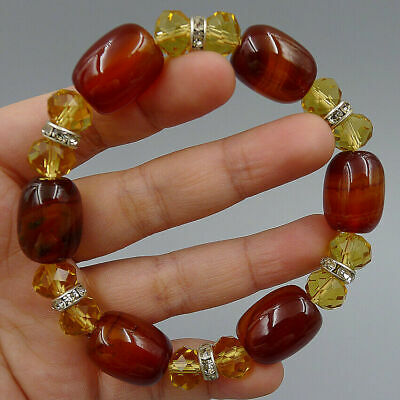 Natural Bracelet Matte Agate Onyx Handmade Jewelry Bangle DIY Charm Crystal Bead