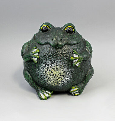 9937586 Cast Iron Figure Sculpture Large round Frog Green