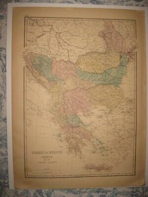 Large Antique 1875 Turkey In Europe Greece Handcolored Map Bulgaria Superb Rare