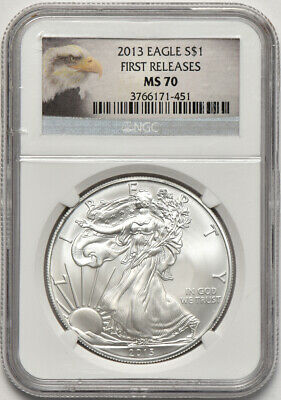 2013 1oz American Silver Eagle NGC MS 70 First Releases Minor Flecks