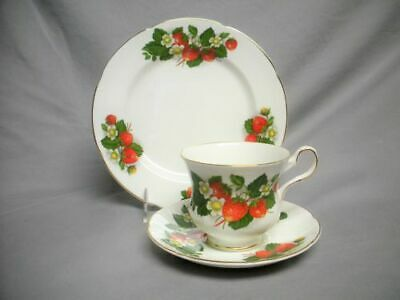 Royal Grafton 3 pc Set STRAWBERRY Bone China Cup, Saucer & Plate Strawberries