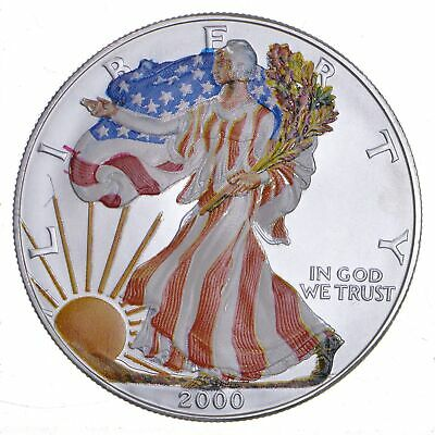 2000 Beautifully Painted/Sticker American Silver Eagle 1 Oz. .999 Fine *304