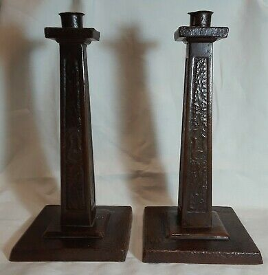 Arts and Crafts Hammered Copper Candlesticks
