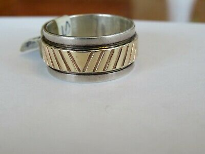 M.m. Rogers Southwestern 14K & Sterling 10 Mm Wide Band Ring Sz 9 3/4
