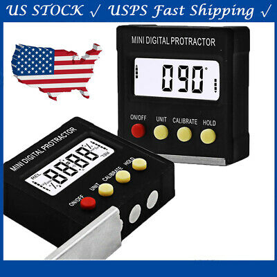USA Inclinometer Angle Gauge Meter Digital LCD Protractor Electronic Level Box