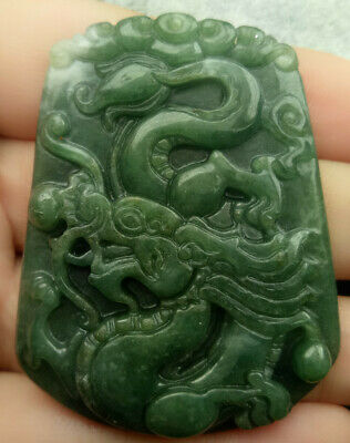 Certified Oily Green 100% Natural A Jade Jadeite Hand-Carved Drogan  Pendant