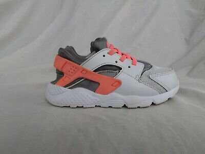 18c467b61ec3b Toddler Girls Nike Huarache 704952-010 Pink-Peach/Gray/White Shoes Size