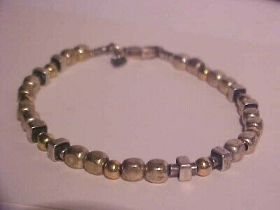 "Women's 7 1/2"" Long Silpada 925 Sterling Silver & Gold Multi Slide Bead Bracelet"
