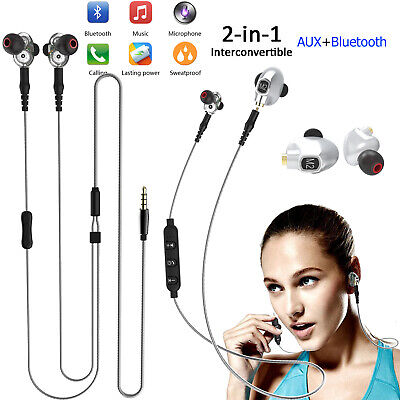 2 in 1 Wireless Bluetooth Headset Wired Headphones for Smart Cell Phones PC Game