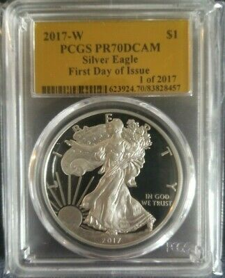 2017 W Pcgs Pr 70 Dcam First Day Of Issue Proof Silver Eagle 1 Of 2017 Gold Foil