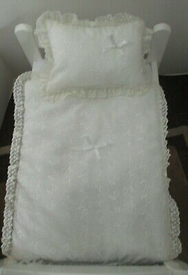 """Quilt & Pillow set suitable for Doll's,Pram,Cradle,Cot,Bed,"""" Cream Broderie"""""""