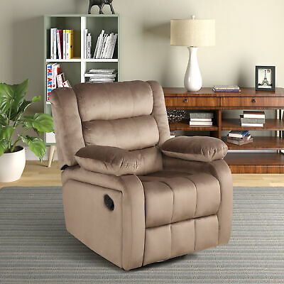 Swivel Recliners Chair Lounge Extra Padded Polyester Microfiber Brown Gray