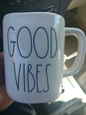 "NEW Rae Dunn by Magenta Coffee Mug in L/L ""GOOD VIBES"" Newly Released Rare HTF"