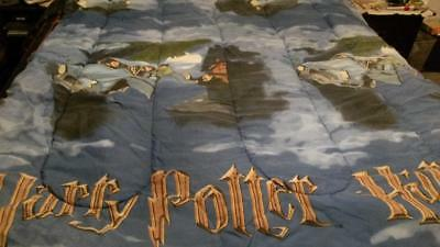 Vintage HARRY POTTER COMFORTER twin blue preowned FLYING CAR reversible