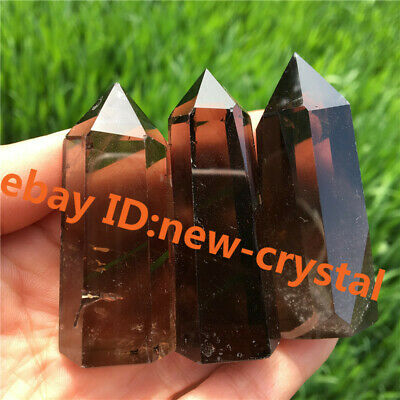 natural smokey quartz obelisk crystal wand point healing 150g+ 3pcs