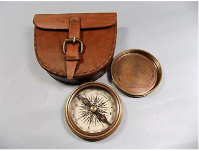 Authentic Vintage Style Brass Pocket Compass Nautical Retro Strap Leather Case