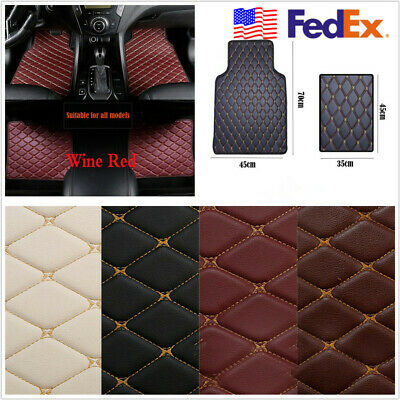 1 Set Wine Red&Beige Line USA Stock Autos Interior Floor Carpet Feet Mat Cushion