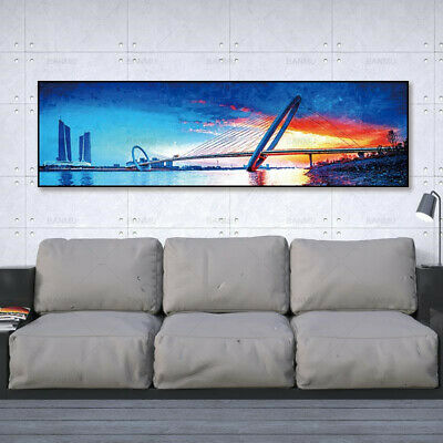Bridge Landscape Canvas Painting Poster Print Wall Art Picture Home Decor
