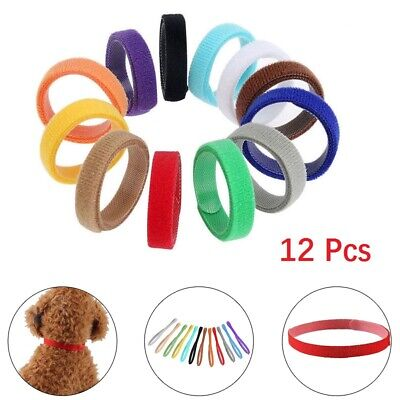 12Pcs Adjustable Puppy ID Collars Whelping Kitten Velcro Collar Bands Breeders🐾