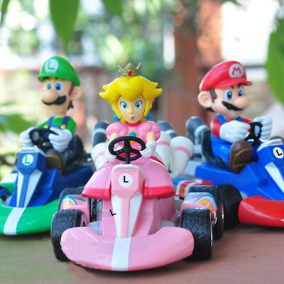 6 pcs Super Mario bros mini Kart reculons Figure de Collection poupée jouets Kid