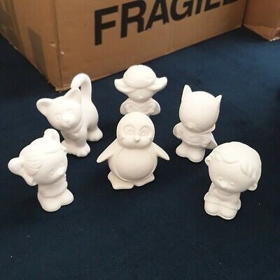 Plain Pottery Items - Little figures To Paint With Acrylic Or Ceramic Underglaze