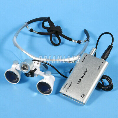 Dentaire Medical 3.5X 420mm Loupes Optical Glasses + LED Lampe frontale silver