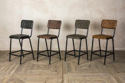 Quilted Leather Breakfast Bar Stools Bar Stools 4 Colours Two Heights