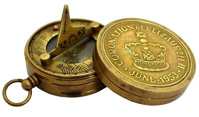 Vintage Hand Crafted Antique Brass Collectible Pocket Sundial Compass SC 010
