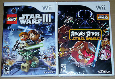 Nintendo Wii Game Lot - LEGO Star Wars III (Used) Angry Birds Star Wars (New)