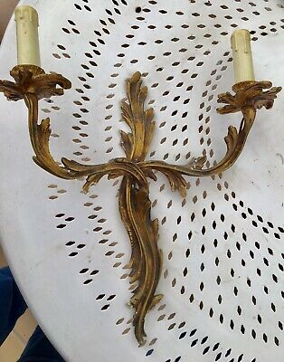 Vintage French Heavy Bronze Leaf Rococo Double Wall Sconce Large Light Lamp (H)