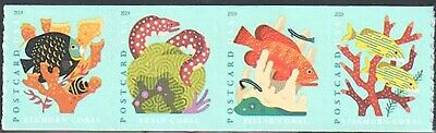 SC#5367 - 5370a - 2019 (35c) Coral Reefs Postcard Rate Coil Strip of 4 MNH