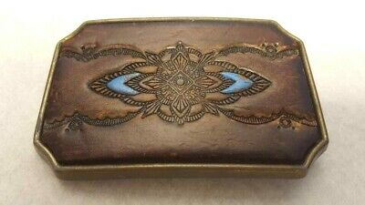 Leather Painted Hand Tooled Brown/Blue Design Belt Buckle Vintage FREE S/H