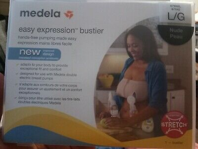 Medela Easy Expression Bustier Hands Free Breastmilk Pumping Bra. Nude, Large
