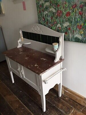 Antique Marble top Wash Stand With Tiled Back