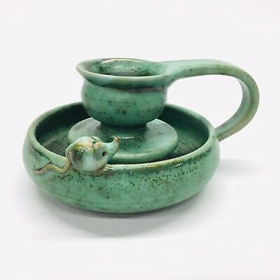 Topferei Steuernagel Pottery Candle Holder Green Glaze One Mouse Made in Germany