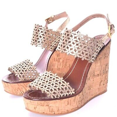 c7fe50dbf TORY BURCH DAISY Wedge Laser Cut Out Cork Slides Sandals Shoe Clogs ...