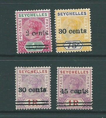 SEYCHELLES 1902 Edward VII mint: Local Surcharged overprints