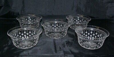 5 Antique Victorian Fruit Berry Bowls Cut & Etched Crystal Glass Hand Blown