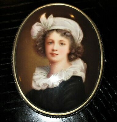 Antique porcelain painted brooch of Elisabeth Louise Vigee Le Brun