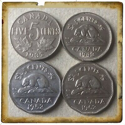 🇨🇦1932-1942-1952-1962  Canada five cents Canadian nickels  Coins #1592🇨🇦