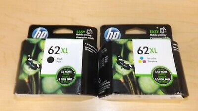 Lot of 2 Genuine HP 62XL Ink Cartridges - Black/Color - C2P05AN/C2P07AN - New