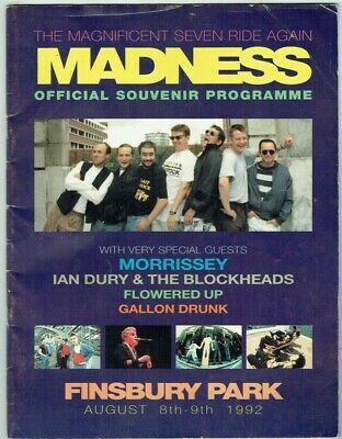 Madness Morrissey Finsbury Park Programme Aug 8/9 1992