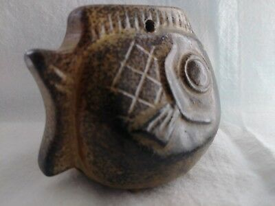 Rare Old Antique Homemade Clay or Terracotta Hanging BELL FISH Bluegill Salmon