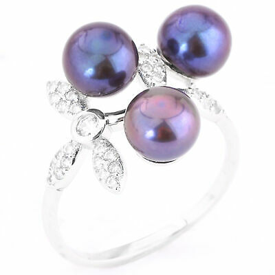 100% Natural 7Mm Tahitian Freshwater Pearl & White Cz Silver 925 Ring Size 9